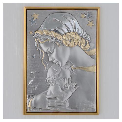 Bassorilievo Madonna con bimbo e stelle argento oro 2