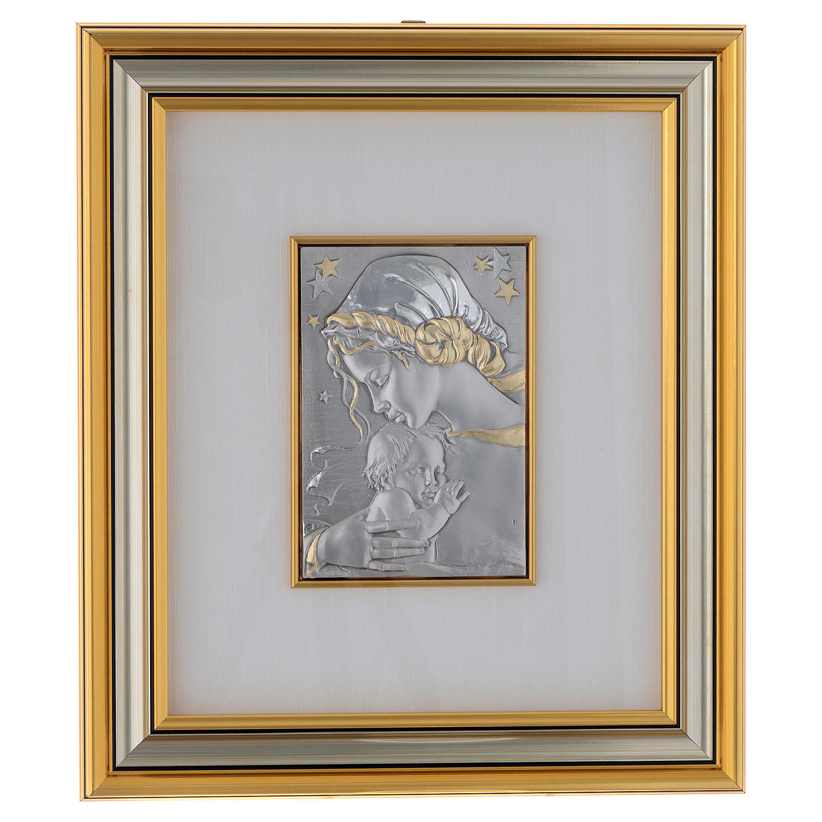 Bas-relief, Our Lady and baby with stars, gold silver 4