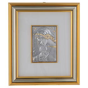 Bas-relief, Our Lady and baby with stars, gold silver s1