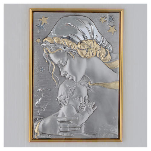 Bas-relief, Our Lady and baby with stars, gold silver 2