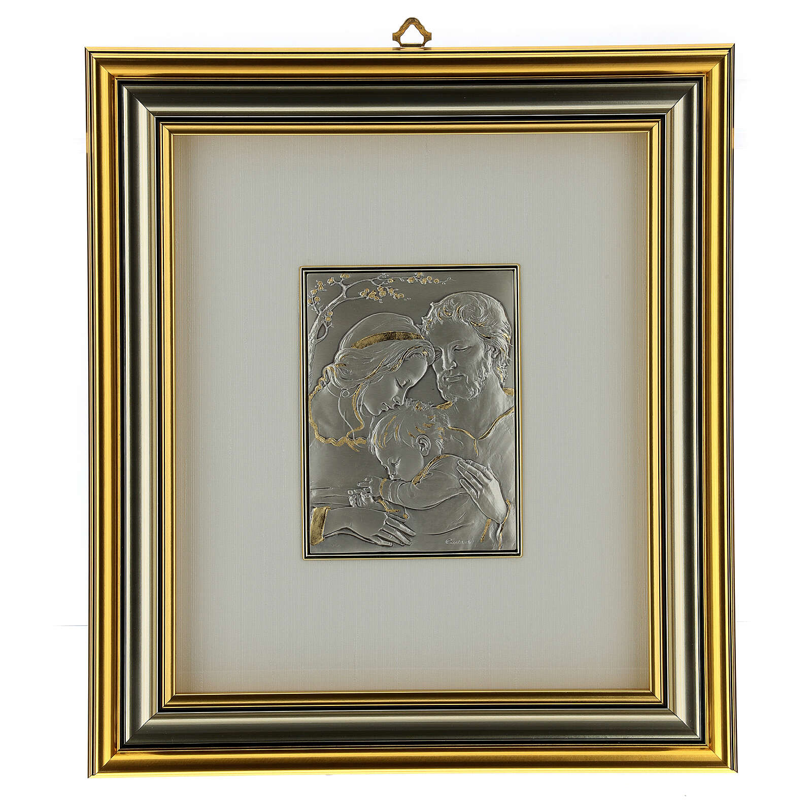 Bas-relief, Holy Family, gold sterling silver 4
