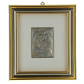 Bas-relief, Holy Family, gold sterling silver s1
