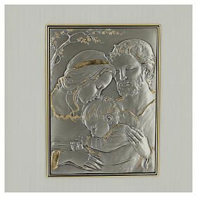 Bas-relief, Holy Family, gold sterling silver s2
