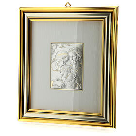 Bas-relief, Holy Family, gold sterling silver s3