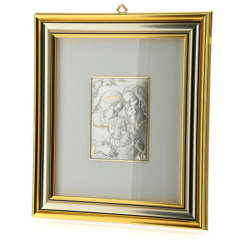 Bas-relief, Holy Family, gold sterling silver 3