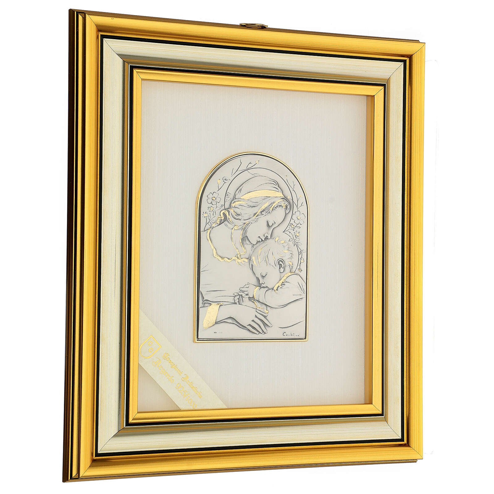 Bassorilievo oro argento 925 Madonna e Gesù bambino 4