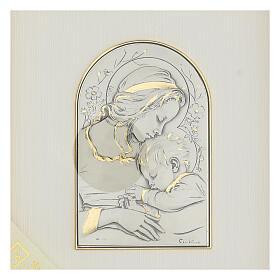 Bassorilievo oro argento 925 Madonna e Gesù bambino s2