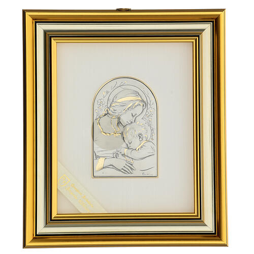 Bassorilievo oro argento 925 Madonna e Gesù bambino 1