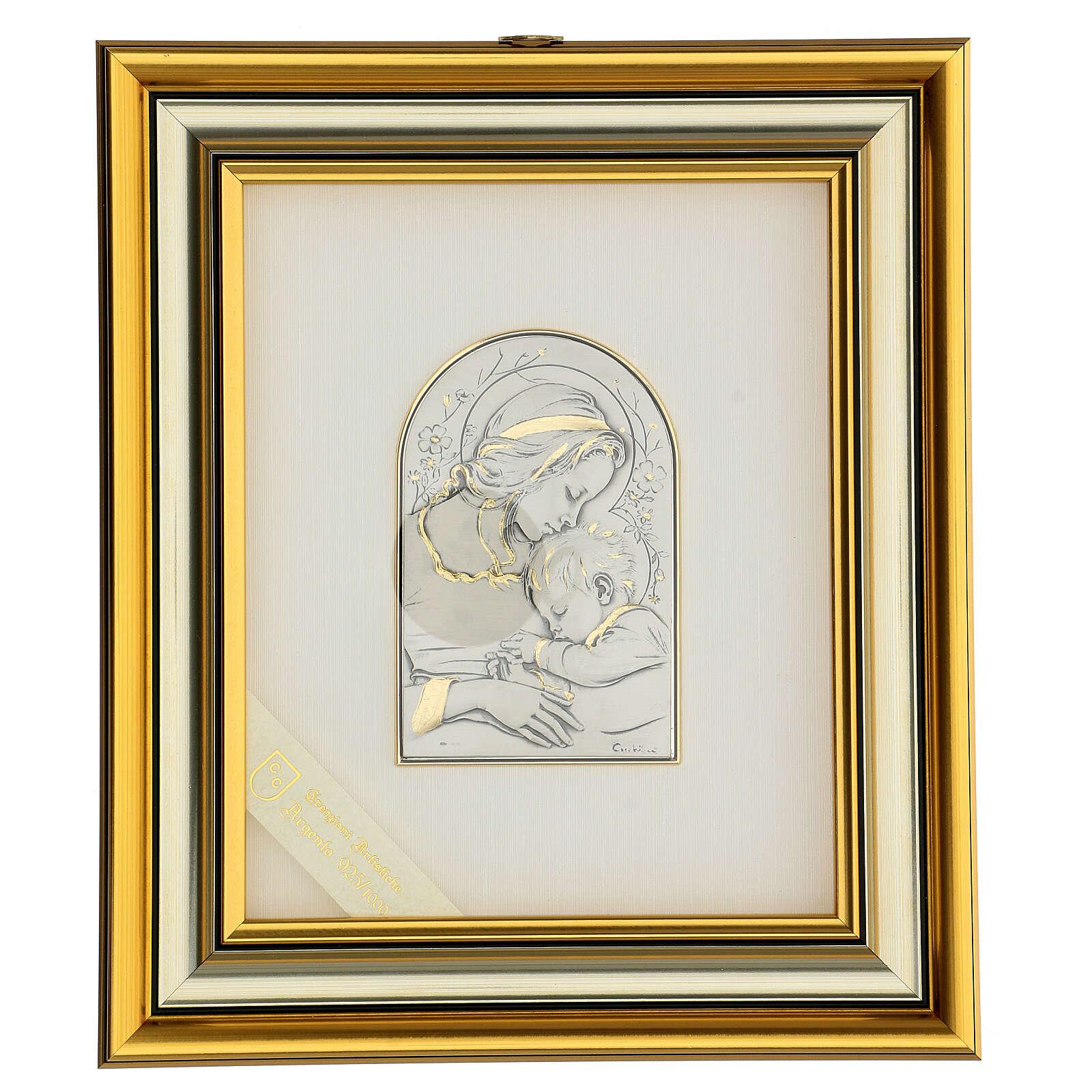Madonna z Dzieciątkiem Jezus płaskorzeźba złoto srebro 4