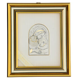 Madonna z Dzieciątkiem Jezus płaskorzeźba złoto srebro s1