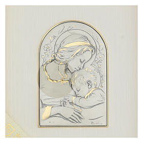Madonna z Dzieciątkiem Jezus płaskorzeźba złoto srebro s2