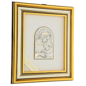 Madonna z Dzieciątkiem Jezus płaskorzeźba złoto srebro s3