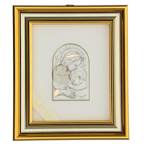 Madonna z Dzieciątkiem Jezus płaskorzeźba złoto srebro 1
