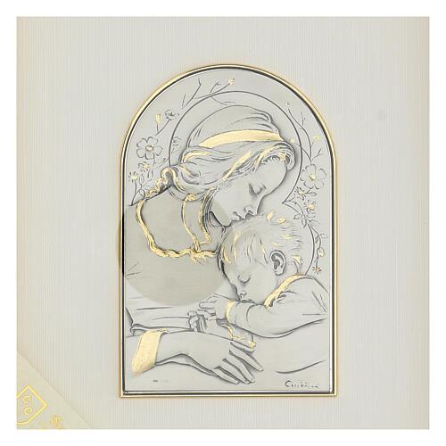 Madonna z Dzieciątkiem Jezus płaskorzeźba złoto srebro 2