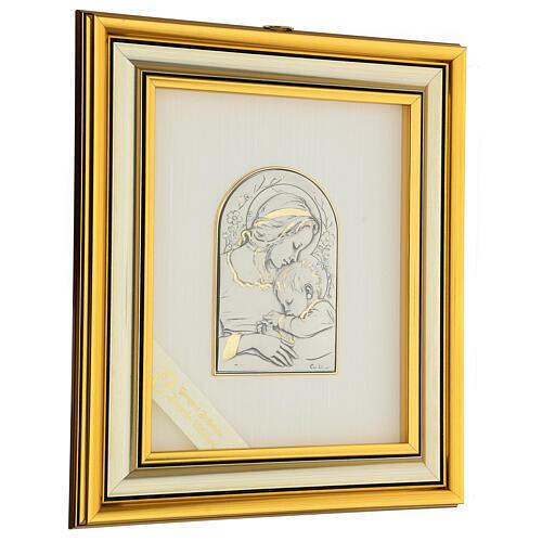 Madonna z Dzieciątkiem Jezus płaskorzeźba złoto srebro 3