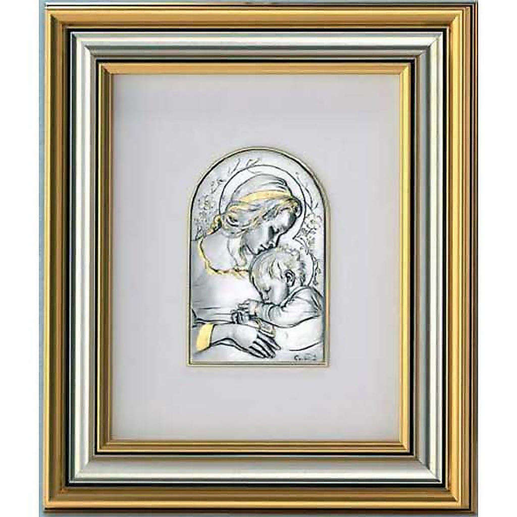 Bas-relief, gold sterling silver, Mary and baby 4