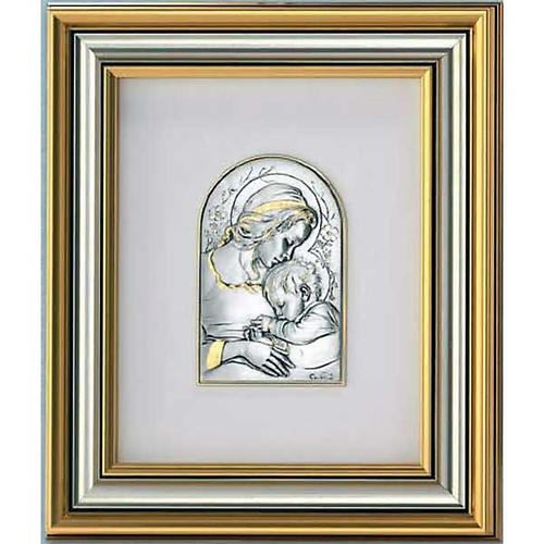 Bas-relief, gold sterling silver, Mary and baby 1
