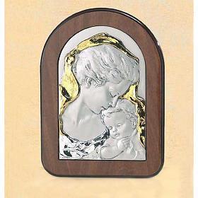 Bassorilievo legno argento Madonna con Gesù bambino s1