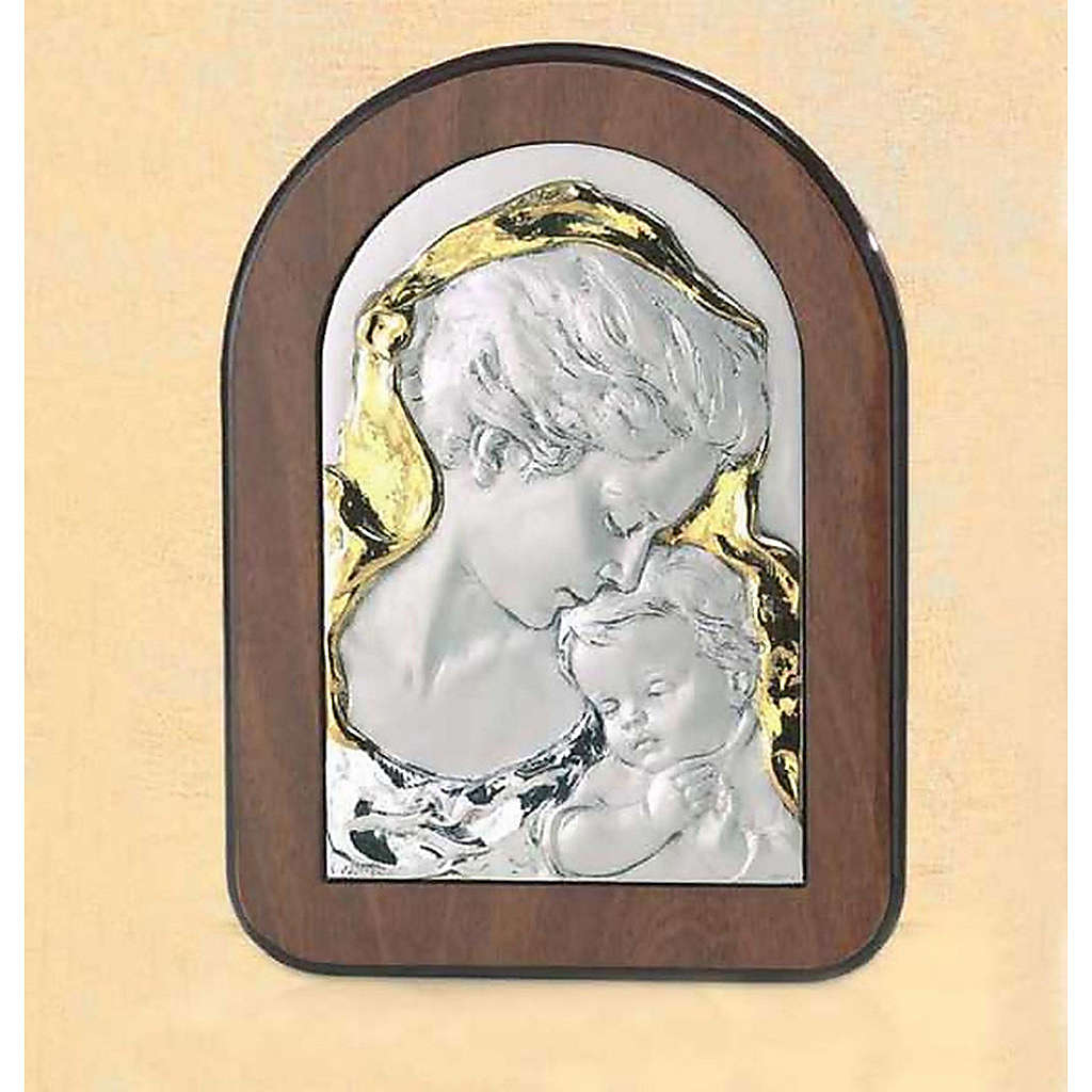 Bas-relief, wood and silver, Mary and baby Jesus 4