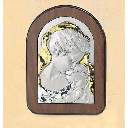 Bas-relief, wood and silver, Mary and baby Jesus 1