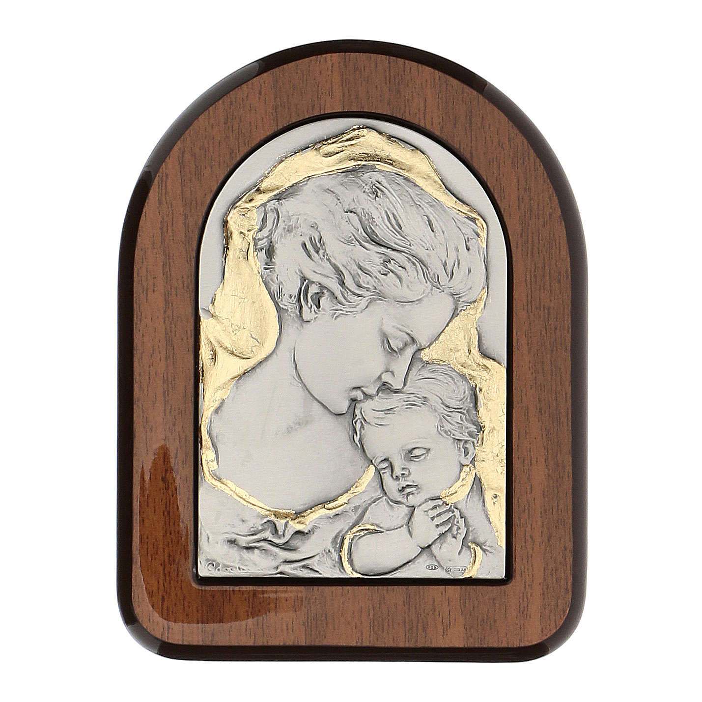 Bas-relief, gold and 925 silver, Mary and baby Jesus 4