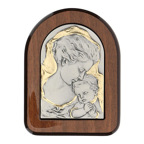 Bas-relief, gold and 925 silver, Mary and baby Jesus 1