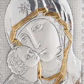 Eleousa Matka Boska Czuła płaskorzeźba srebro zło s2