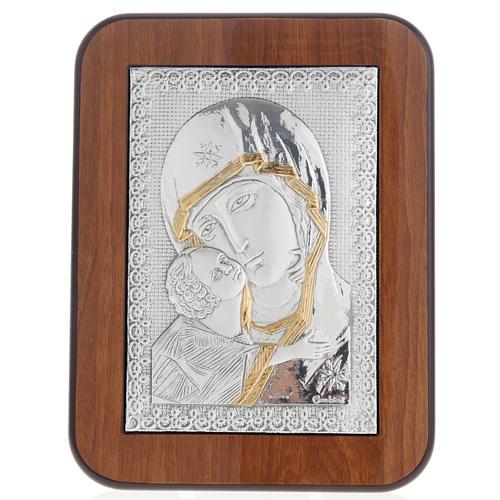Eleousa Matka Boska Czuła płaskorzeźba srebro zło 1