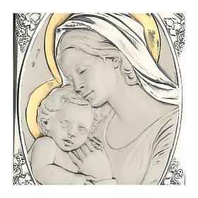 Bas-relief Notre Dame avec l'enfant Jésus argent or