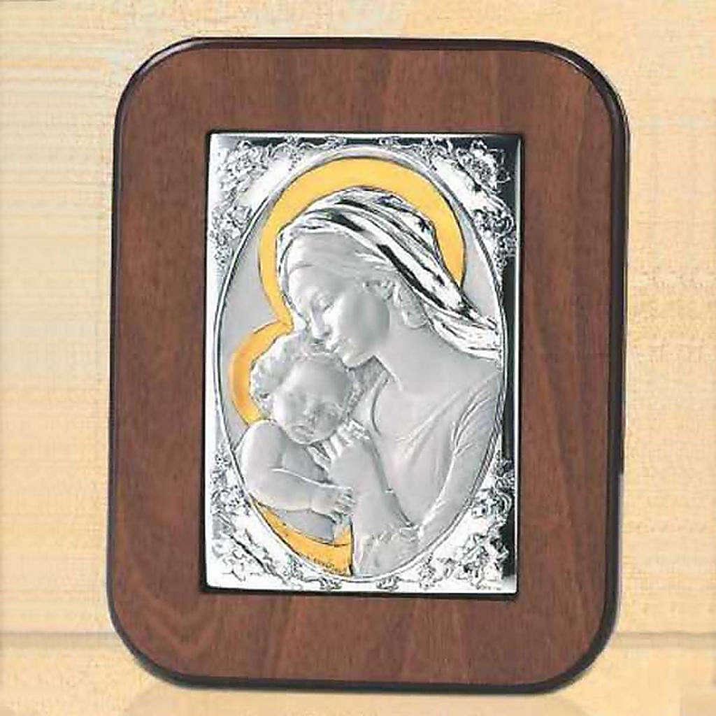 Bassorilievo argento oro Madonna bacia Gesù bambino 4