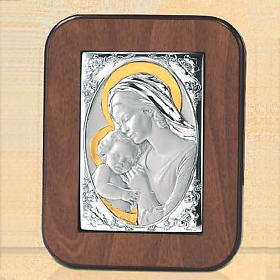 Bassorilievo argento oro Madonna bacia Gesù bambino s1