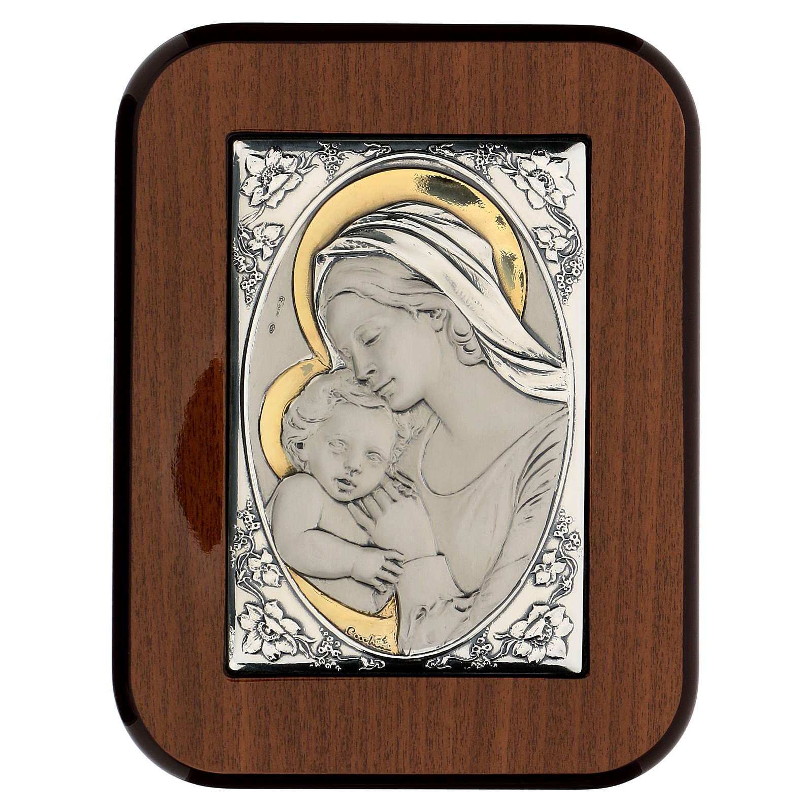 Bas-relief, gold and silver, Our Lady kissing baby Jesus 4