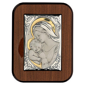 Bas-relief, gold and silver, Our Lady kissing baby Jesus s1