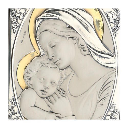Bas-relief, gold and silver, Our Lady kissing baby Jesus 2