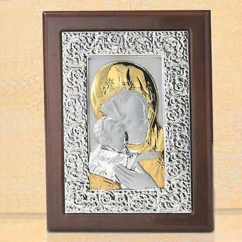 Bas-relief, silver and gold , Our Lady of Tenderness 1