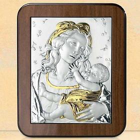 Bassorilievo argento oro Madonna Gesù bambino e rose s1