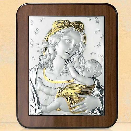 Bassorilievo argento oro Madonna Gesù bambino e rose 1