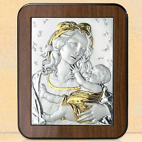 Bas-relief, silver and gold , Virgin Mary and baby Jesus with ro s1
