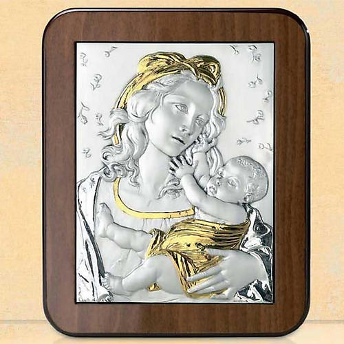 Bas-relief, silver and gold , Virgin Mary and baby Jesus with ro 1