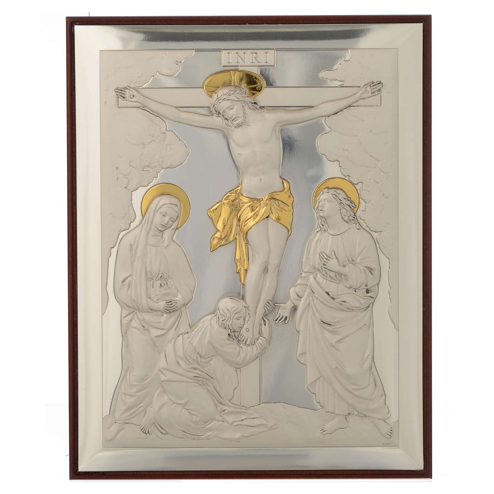 Bas-relief, Crucifixion, silver and gold 4