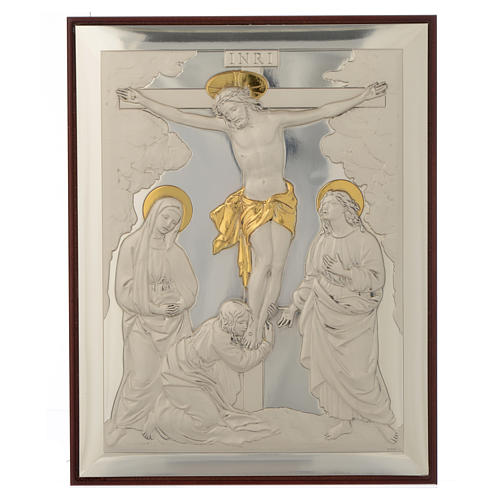 Bas-relief, Crucifixion, silver and gold 1