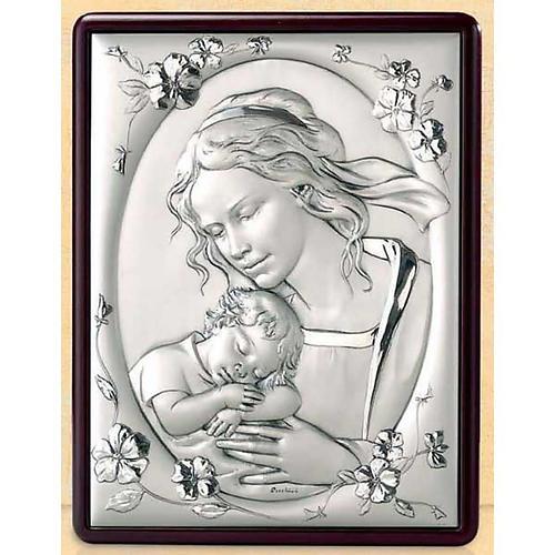 Bas-relief Vierge avec enfant et fleurs argent or 1