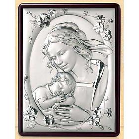 Bassorilievo Madonna Gesù bambino e fiori argento oro s1