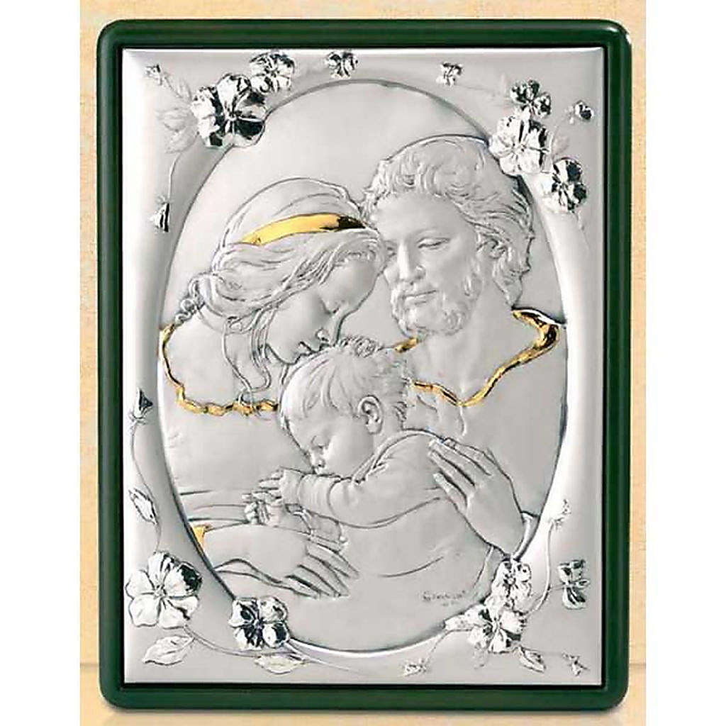 Bas-relief, Holy Family and flowers, silver and gold 4