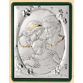 Bas-relief, Holy Family and flowers, silver and gold s1