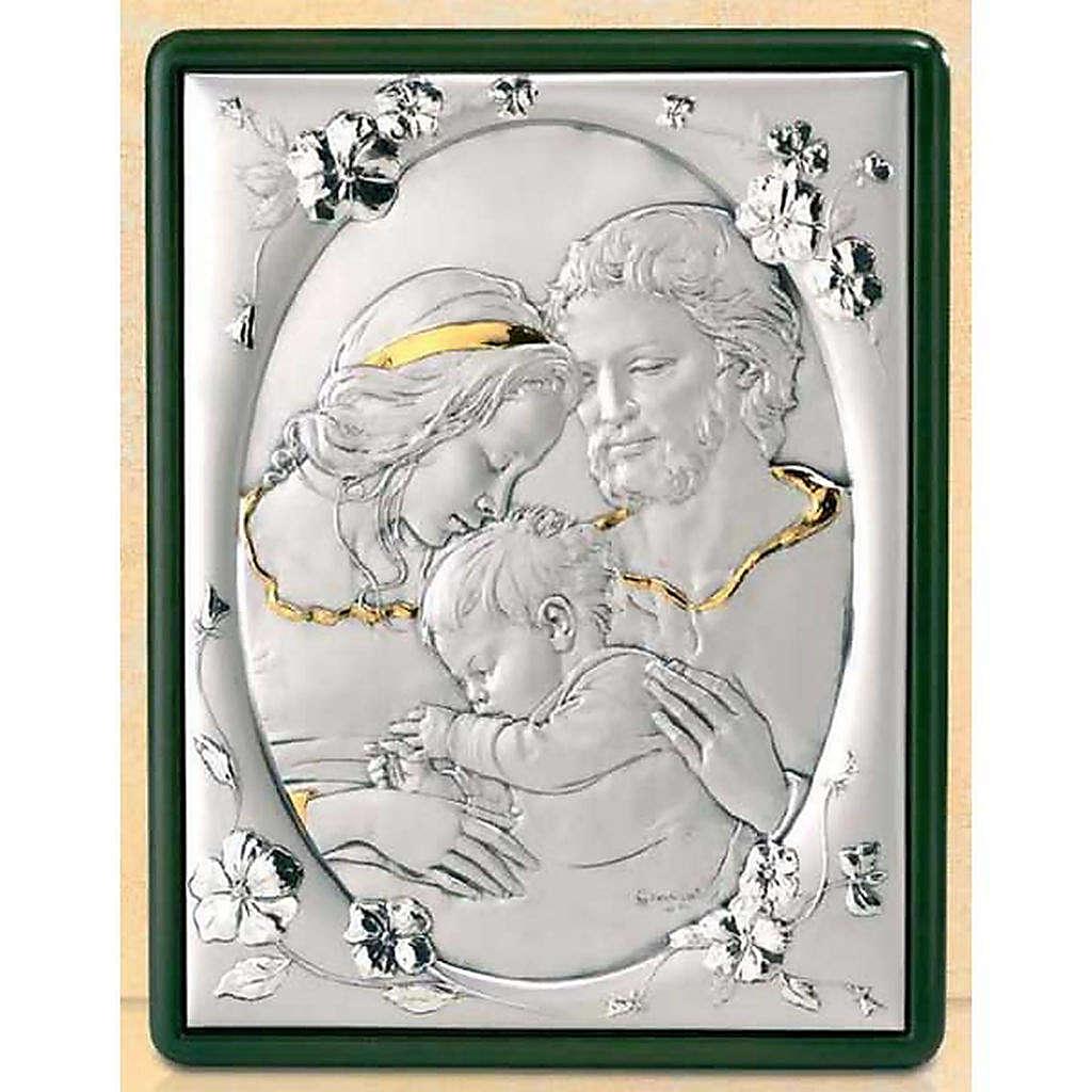 Baixo-relevo Sagrada Família e flores prata e ouro 4