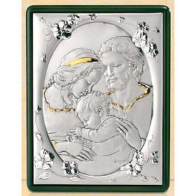 Baixo-relevo Sagrada Família e flores prata e ouro s1