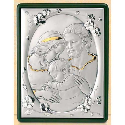 Baixo-relevo Sagrada Família e flores prata e ouro 1