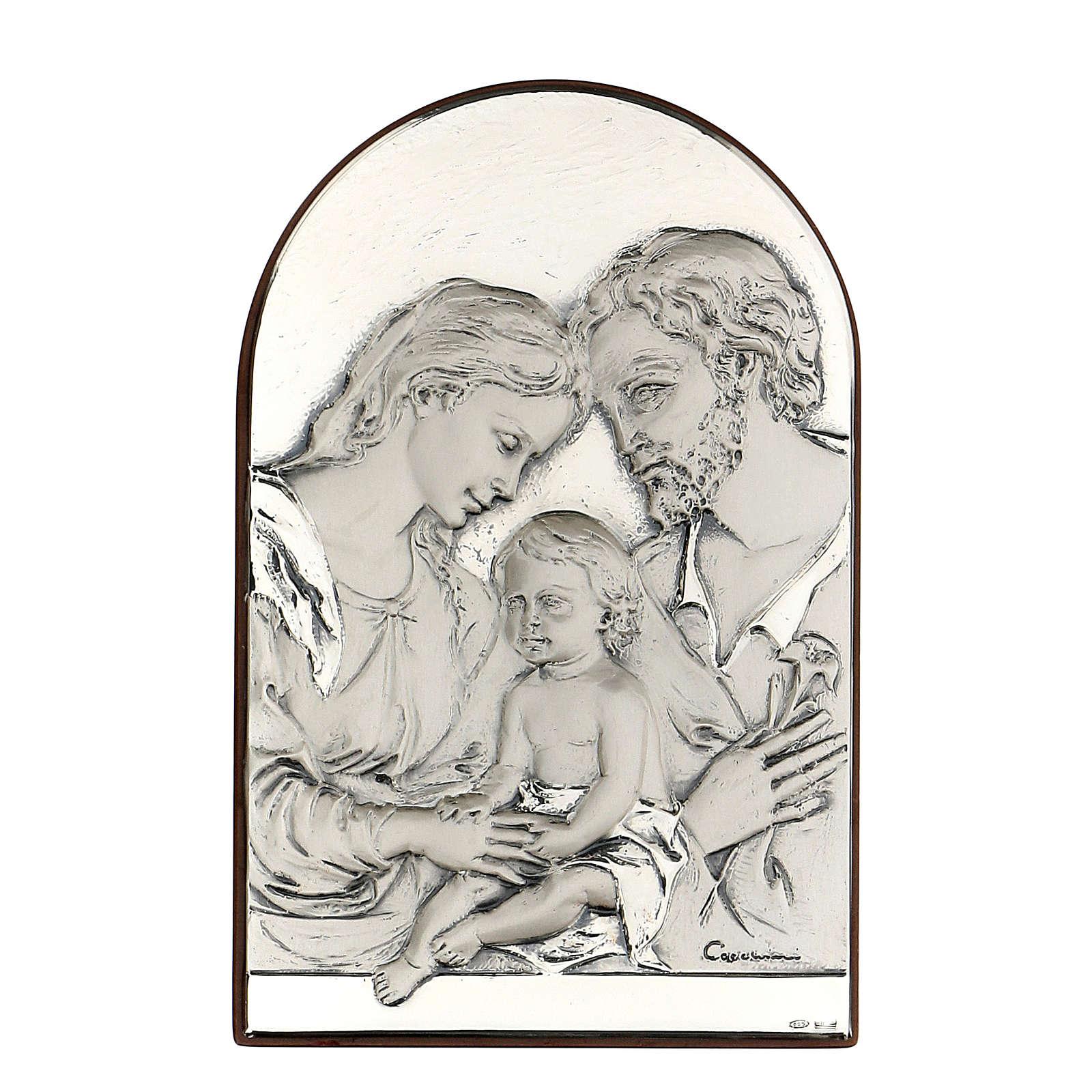 Bassorilievo Sacra Famiglia ovale argento 4