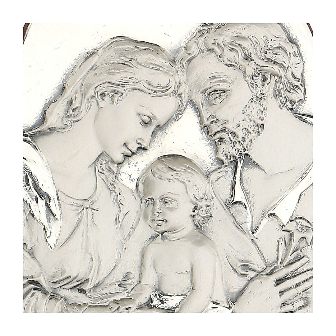 Bas-relief, Holy Family, oval, silver 4